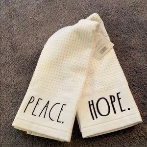 Rae Dunn Kitchen Towels Hope Peace